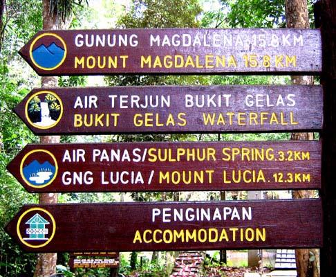 Tawau Hills Park trail signboard.